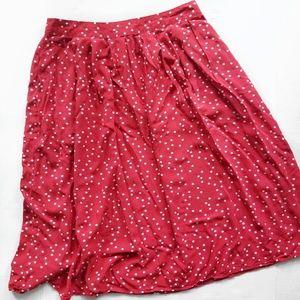 F21 Red and White Polka Dot Skirt M
